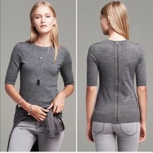 Banana Republic Marled Full Zip-back Sweater, M